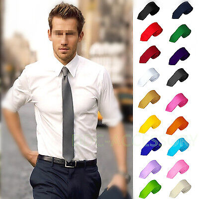 100% Woven Silk Necktie (Casual Solid Plain Classic Skinny 100% New Silk Jacquard Woven Necktie Men's Tie )