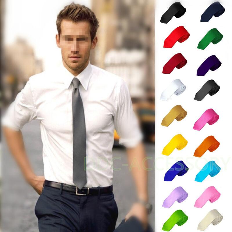 Casual Solid Plain Classic Skinny 100% New Silk Jacquard Woven Necktie Men