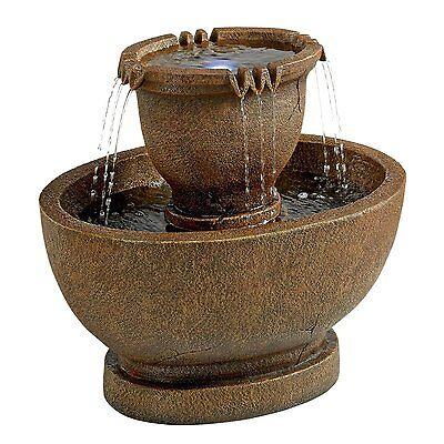 SS11121 - Richardson Oval Urns Cascading Garden Fountain, Grande w/Pump & Light