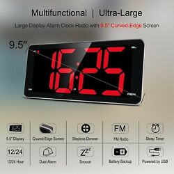 "LED Digital Alarm Clock with USB, 9""Large Display Clock with Dimmer for Bedrooms"