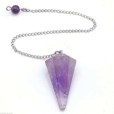 Amethyst Crystal Pendulum 12 Facet Reiki Charged Chakra Healing