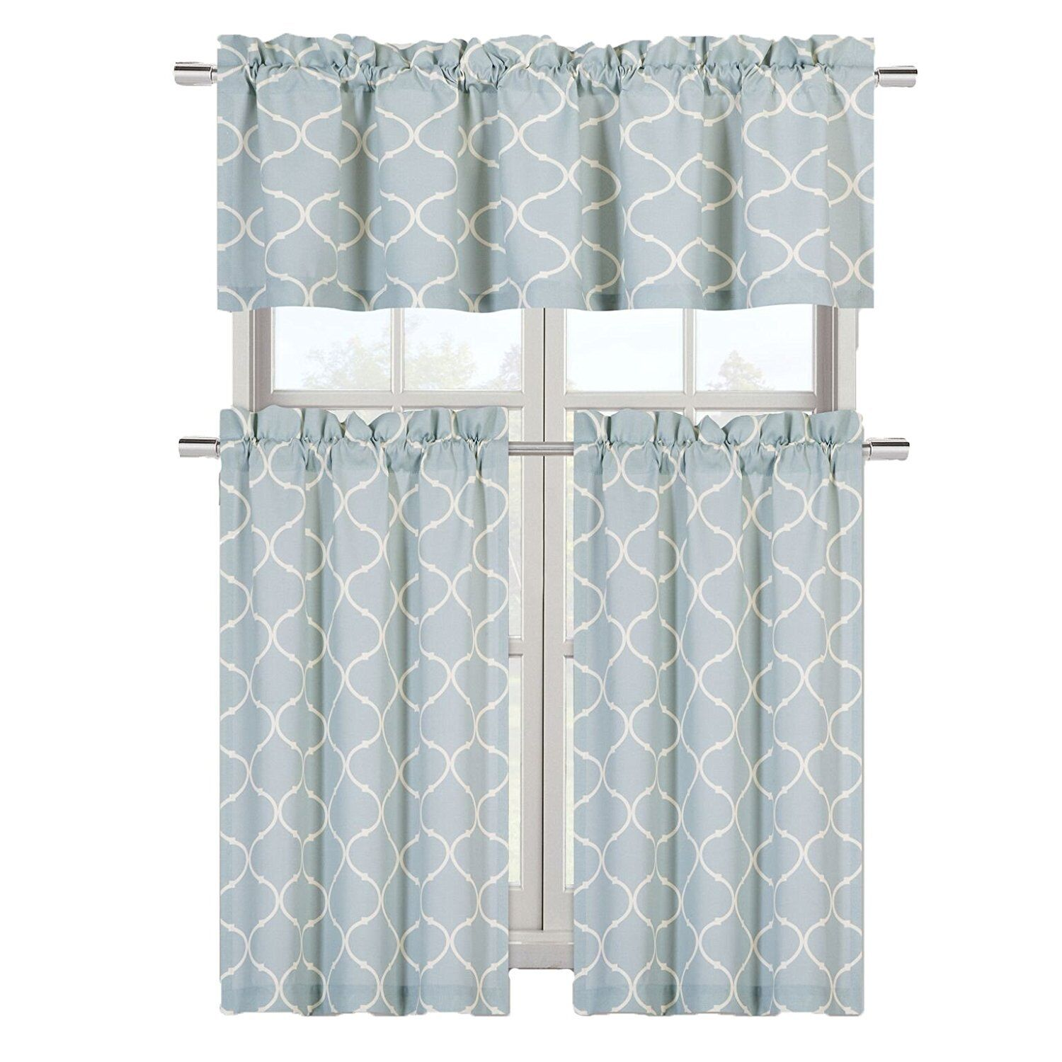Details About Luxurious Turquoise Geometric Shabby 3 Piece Kitchen Curtain Tier Valance Set