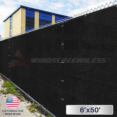 6'x50' Feet Black Privacy Fence Windscreen Yard Garden Shade Mesh Fabric Cover