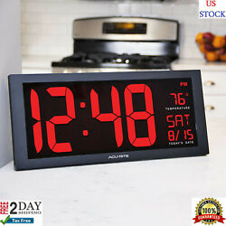 Big Digital Wall Clock Large LED Display School Office Electronic w Temperature.