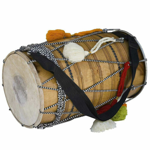 Indian Festivity Musical Punjab Bhangra Dhol, Mango Wood Musical Instrument