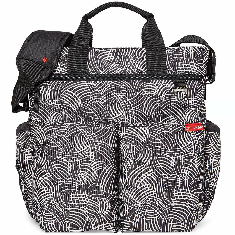 SKIP HOP DUO SIGNATURE Diaper Bag Baby Diaper Bag With Changing Pad, Black Swirl - $39.00