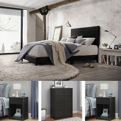 4 Piece Bedroom Set Furniture Queen Size Modern Bed Nightstands Black Dresser ()
