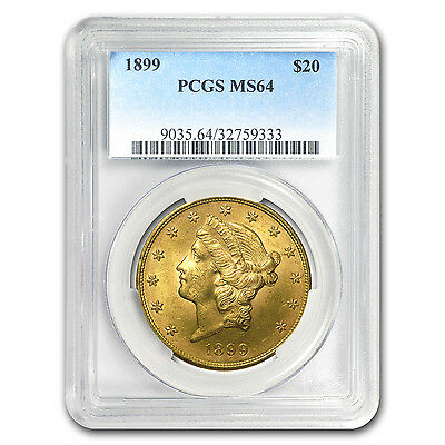 1899 $20 Liberty Gold Double Eagle MS-64 PCGS - SKU #91277