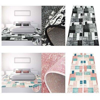 Bettumrandung Teppich Modern Läufer Inspiration Used Vintage Pastel-Rosa Schwarz