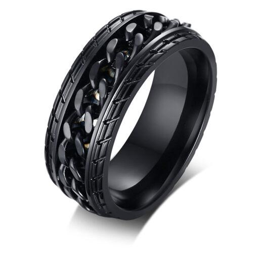 8mm Mens Stainless Steel Spinner Chain Rings Fidget Ring Wed