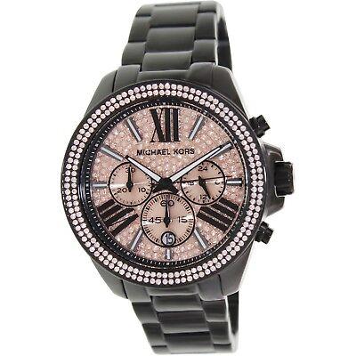 Michael Kors MK5879 Wren Black Rose Chronograph Women Glitz Stainless Watch