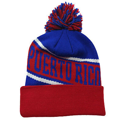 Puerto Rico Winter Fresh Design Royal Blue/Red Pom Cuffed Beanie Skull -
