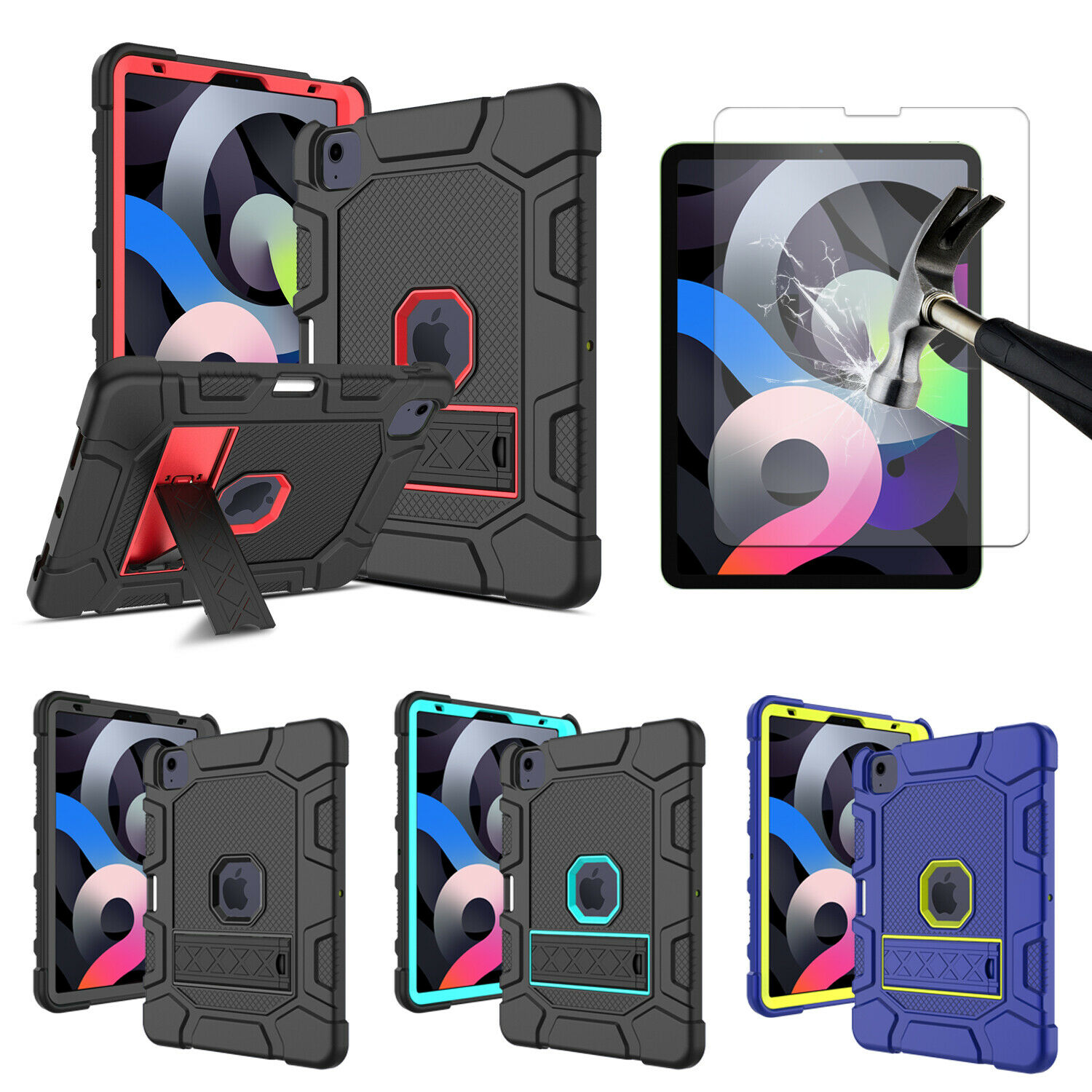 For iPad Pro 11-inch 2021/2020/2018 Tablet Stand Rugged Cover / Screen Protector Cases, Covers, Keyboard Folios