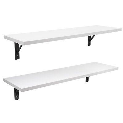 2 Display Ledge Shelf Floating Shelves Wall Mounted with Bracket ()