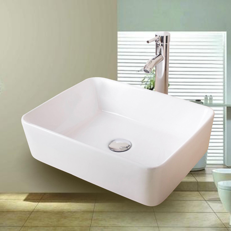 Bathroom Vessel Sink Porcelain Basin Ceramic Faucet Drain Co