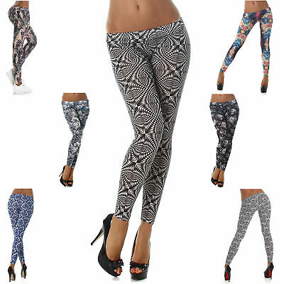 Damen Leggings Hose lang weich Shorts bunt farbig Gogo Strumpfhose Größe Neu