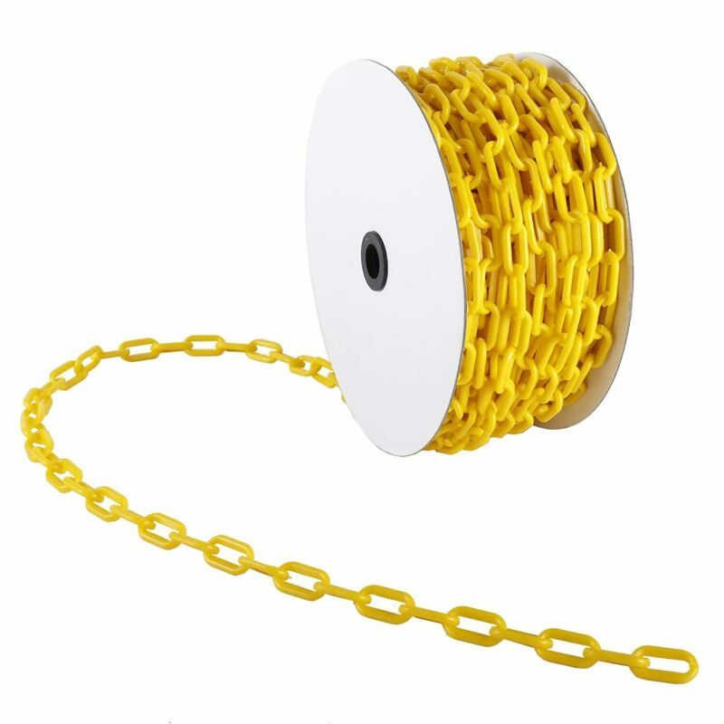 AuInn 98 FT Yellow Plastic Chain Links, High-Visibility (30 M 6 MM Thickness)