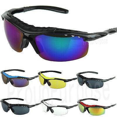 Mens Sports Wrap Around Mirrored Sunglasses Driving Cycling Riding (Mirrored Wrap Around Sunglasses)