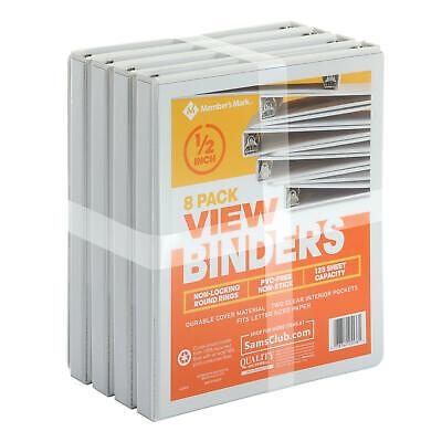 Members Mark 12 Round-ring View Binder White 8 Pk.