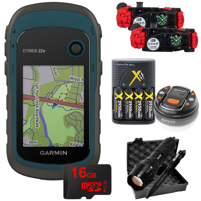 Garmin eTrex 22x: Handheld GPS with 16GB Camping & Hiking Bundle 010-02256-00