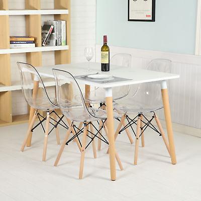 4X Clear Ghost Transparent Chair Beech Leg Lounge Dinning Kitchen Office Plastic