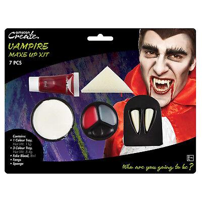 Horror Vampir Make Up Kit Dracula Künstliches Blut Zähne Halloween Gesicht