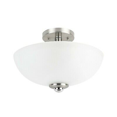 Semi Flush Ceiling Light Nickel Fixture Modern Glass Mount Brushed Frosted 2