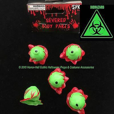 Toxic Biohazard-GREEN SEVERED EYEBALLS-Body Part-Mad Scientist Lab ZOMBIE Prop-5