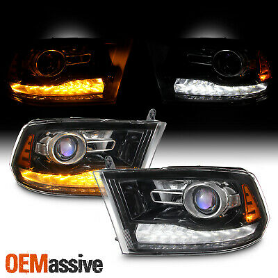 [Factory Upgrade]For 09-18 Dodge Ram Blk LED DRL Switchback Projector Headlight