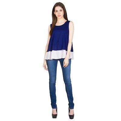 Casual Wear Navy Blue Soft Crepe Flapped Crop Tops for Women/Girls/Ladies XS-7XL - Casual Wear For Girls