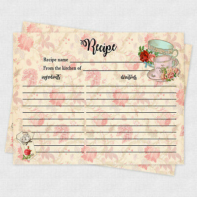 Recipe Cards Game Bridal Shower Recipe Baby Shower Recipe 20 cards Tea Cup - Bridal Shower Recipes