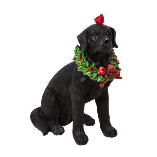Black Lab Statue Outdoor Lighted Christmas Dog Figurine