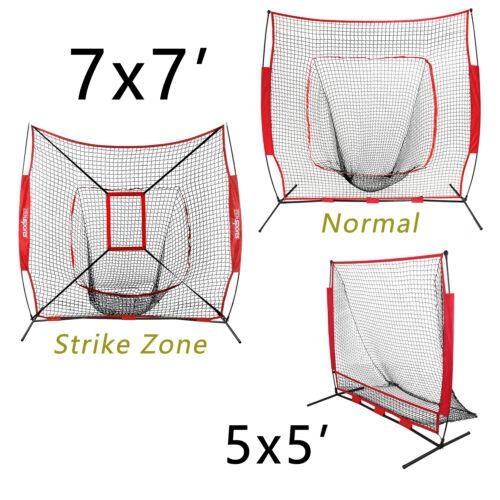 Baseball Training Aids Net Softball Practice W/Bow Frame Bag 7'×7′ / 5'×5′ Baseball & Softball
