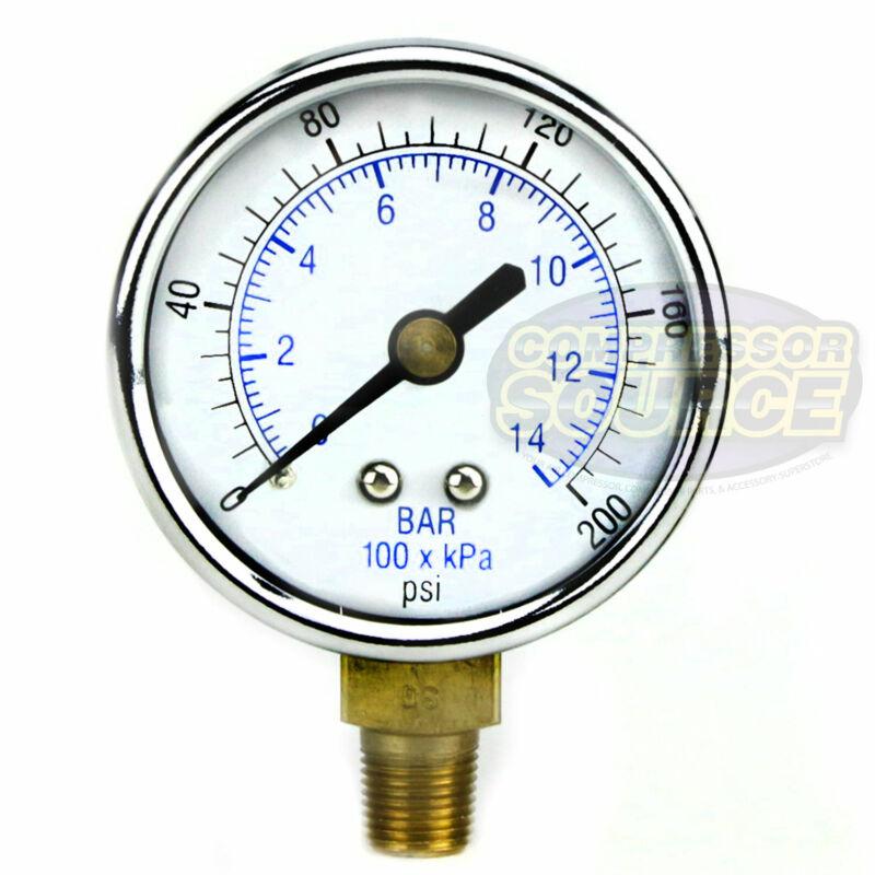 """1/8"""" NPT Air Compressor Lower Mount Pressure Gauge 0-200 PSI Side Mount 2"""" Face"""