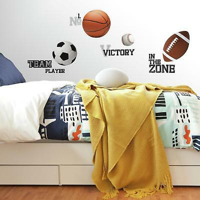 24 New Boys SPORTS WALL STICKERS Football Basketball Soccer Ball Baseball Decals - Soccer Ball Wall Stickers