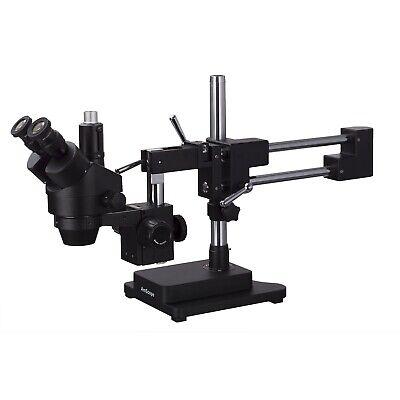Amscope 7x-45x Trinocular Stereo Zoom Microscope Double Arm Boom Stand