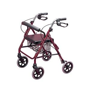 Rollator 4 Wheeled Walker with Seat Walking Frame Zimmer Walking Aid - Ruby