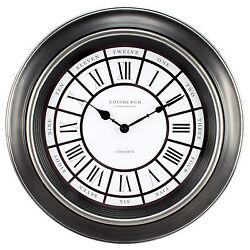 20818 Equity by La Crosse 18 Antiqued Black Silent Sweep Analog Wall Clock