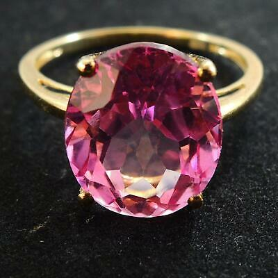 9ct Yellow Gold Oval Pink Topaz Ring 11.9 x 10mm