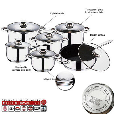 12pc INDUCTION STAINLESS STEEL KITCHEN COOKWARE POT PAN SET GLASS LIDS NON STICK