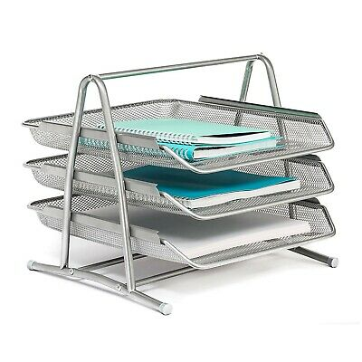 3 Tier Desk Tray Office Organizer | Desktop Document Stackable Letter Tray