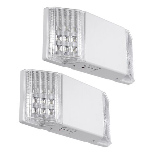 2-Pack LED Emergency Exit Light, Two LED Square Heads, UL-Listed, 120V/277V