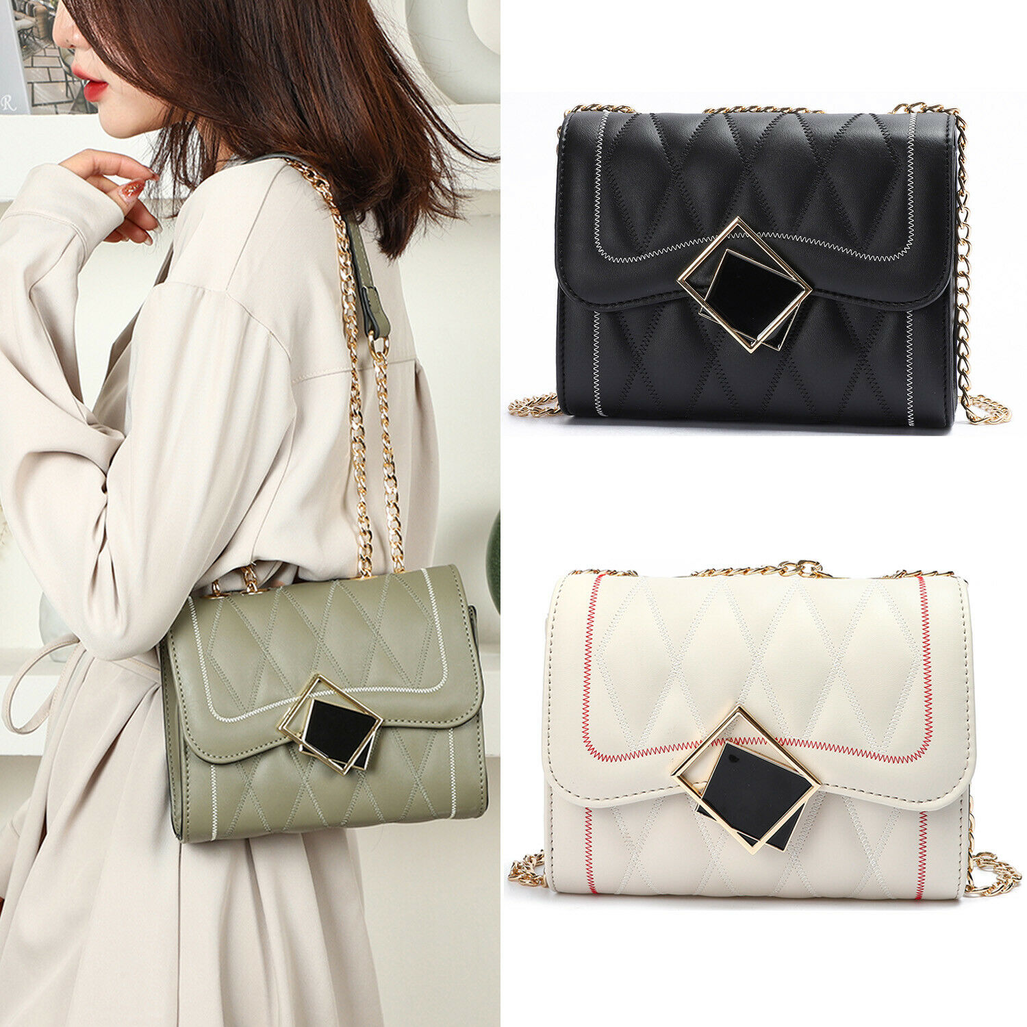 Women Quilted Crossbody Bag with Chain Strap and Flap Top Pu