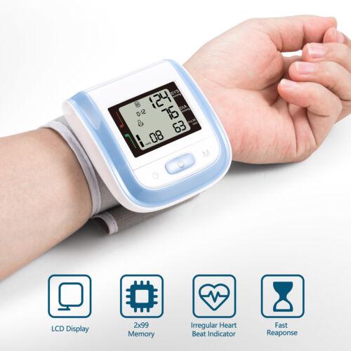 Digital LCD Wrist Blood Pressure Monitor Heart Beat Rate Pul
