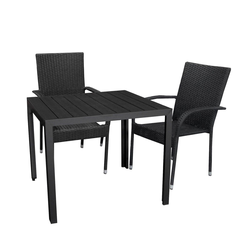 Gartengarnitur Gartenmöbel Set Tisch 90x90cm +2x Rattanstuhl ...