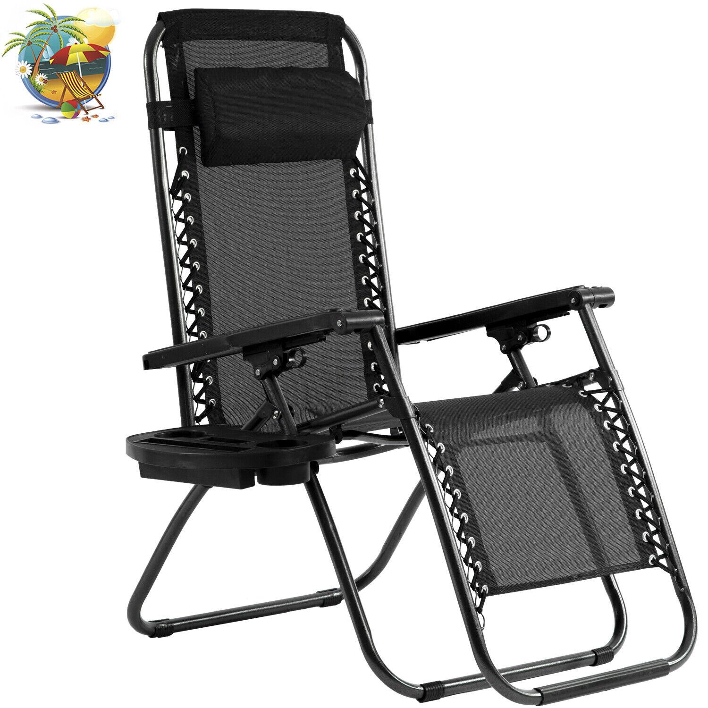 Zero Gravity Chair Lounge Recliner Outdoor Beach Patio Garde