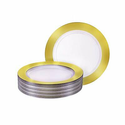 Premium Heavy-weight Round Plastic Plates – Salad Plates Solid Gold Rim – Pack o