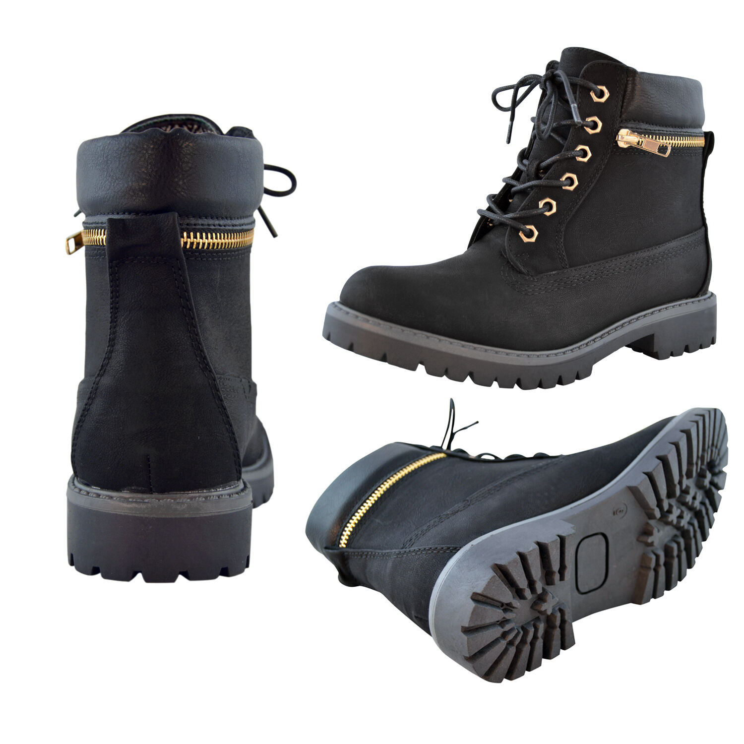 Women's Faux Leather Zipper Trim Ankle Boots Lace Up Hiking Casual Shoes Camel
