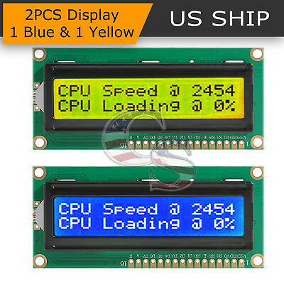 2x Lcd 1602 Blue Yellow Screen With Backlight Display 5v Module For Arduino