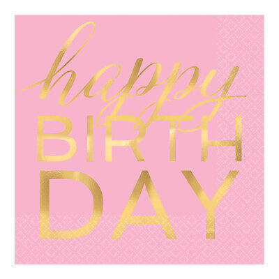 Pink Geburtstagsparty Servietten Goldfolie Schrift Klassisch Mädchen Geburtstag